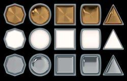 Set pięć różnych guzików, robić w trzy różnych materiałach 3 d czynią ilustracja wektor