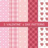 Set Pięć wzorów - Szczęśliwy walentynki ` s dzień Obraz Stock