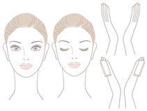 Set Piękna kobiety głowa, ręki i Zdjęcia Royalty Free