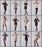 Set Piękna młoda kobieta. Pracowniana fotografia. Zdjęcia Stock