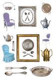 Set piękne antykwarskie rzeczy, obrazek ramy, meble, naczynia retro Rocznik pojedynczy bia?e t?o obrazy royalty free