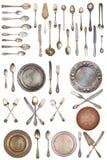 Set piękne antykwarskie rzeczy, stary silverware retro Rocznik pojedynczy bia?e t?o obraz royalty free