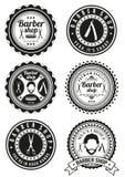 Set piękne round rocznika fryzjera męskiego sklepu odznaki Zdjęcia Royalty Free