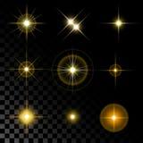 Set piękne złociste gwiazdy Zdjęcie Royalty Free