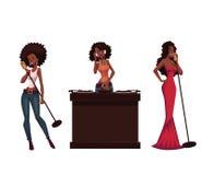 Set piękni Afrykańscy kobieta piosenkarzi i dj royalty ilustracja