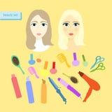Set piękno dla kobiet na świetle również zwrócić corel ilustracji wektora Zdjęcia Stock