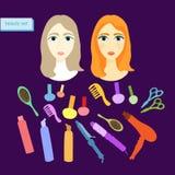 Set piękno dla kobiet w purpurach również zwrócić corel ilustracji wektora Fotografia Royalty Free