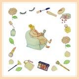 Set piękno kobiety i kosmetyki wektorowi z barwionymi ołówkami wręczamy patroszonego Obrazy Stock