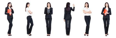 Set piękny, atrakcyjny bizneswoman odizolowywający na bielu, Biznes, kariera sukcesu pojęcie obrazy royalty free