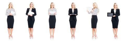 Set piękny, atrakcyjny bizneswoman odizolowywający na bielu, Biznes, kariera sukcesu pojęcie Zdjęcia Royalty Free