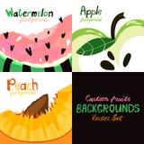 Set piękny, kreskówka, ręki rysujący lato owoc tła royalty ilustracja