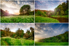 Set piękny wieś krajobraz Fotografia Royalty Free
