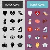 Set piętnaście czerń i kolor medycyny ikony Zdjęcia Stock