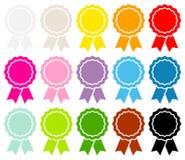 Set Piętnaście Graficznych medali Tasiemkowy kolor ilustracja wektor