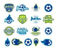 Set piłek nożnych ikony i emblematy Fotografia Royalty Free