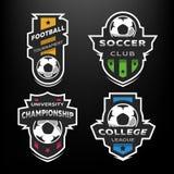 Set piłka nożna Futbolowy logo, emblemat royalty ilustracja