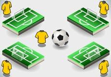 Set piłki nożnej kary ikony i teren Obraz Royalty Free