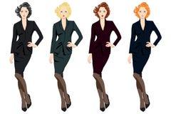 Set piękne biznesowe kobiety w kostiumach Zdjęcie Royalty Free