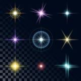 Set piękne stubarwne gwiazdy Obraz Royalty Free