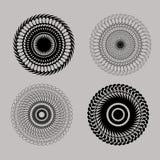 Set pięknej czerni linii geometrycznego projekta round elementy Obrazy Stock