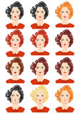 Set piękni kobieta portrety Obrazy Stock