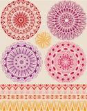 Set piękni mandalas Zdjęcia Royalty Free