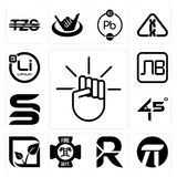 Set of, pi, south african rand, fire dept, pure veg, 45 degree angle, sb, bulgarian currency, lithium icons. Set Of 13 simple editable icons such as, pi, south Royalty Free Stock Image