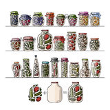 Set of pickle jars with fruits and vegetables Royalty Free Stock Photo