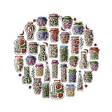 Set of pickle jars with fruits and vegetables Royalty Free Stock Photography