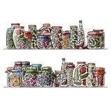 Set of pickle jars with fruits and vegetables Stock Photos