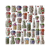 Set of pickle jars with fruits and vegetables Royalty Free Stock Images