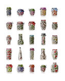 Set of pickle jars with fruits and vegetables Stock Photography