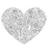 Set of Picnic cartoon doodle objects Royalty Free Stock Photos