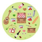 Set for a picnic on a green background royalty free illustration