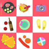 Set of picnic icons and barbeque outdoor family. Weekend objects in flat style. Food, grill, camera, clothes, keds, wine on square checkerboard background vector illustration