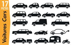 17 signage pictograms on different automobile models vector illustration
