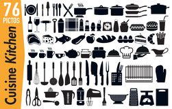 76 signage pictograms on kitchen utensils insects vector illustration