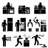 Man Cooking Washing at Kitchen Pictogram. A set of pictograms representing man cooking and using the kitchen equipment Stock Photo