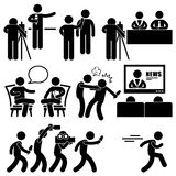 News Reporter Anchor Woman Newsroom Pictogram. A set of pictograms representing newsroom talkshow, and news reporter Stock Image