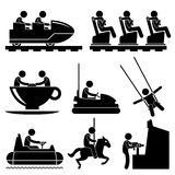 Amusement Theme Park People Playing Pictogram. A set of pictograms representing people enjoying themselves in a theme park stock illustration