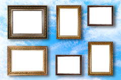 Set of picture frame. Photo art gallery on blue sky. Royalty Free Stock Image