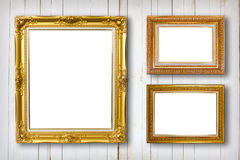 Set of picture frame. Photo art gallery on wood vintage. Royalty Free Stock Images