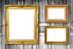 Set of picture frame. Photo art gallery on wood vintage. Royalty Free Stock Photos