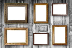 Set of picture frame. Photo art gallery on wood vintage. Set of picture frame. Photo art gallery on wood vintage wall Stock Image