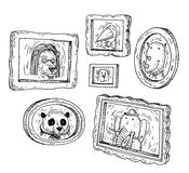 Set picture frames with animals portrait, hand drawn vector illustration Stock Images