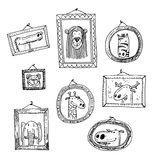 Set picture frames with animals portrait, hand drawn vector illustration Royalty Free Stock Images