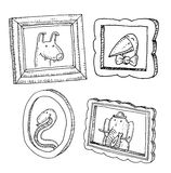 Set picture frames with animals portrait, hand drawn vector illustration Royalty Free Stock Photo