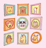 Set picture frames with animals portrait, hand drawn vector illustration Stock Photography