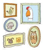 Set picture frames with animals portrait, hand drawn vector illustration Stock Image