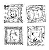 Set picture frames with animals portrait, hand drawn vector illustration Stock Photos